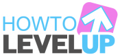 How to Level Up Logo. Includes the words How To Level up and a pink box with a white arrow over the word UP